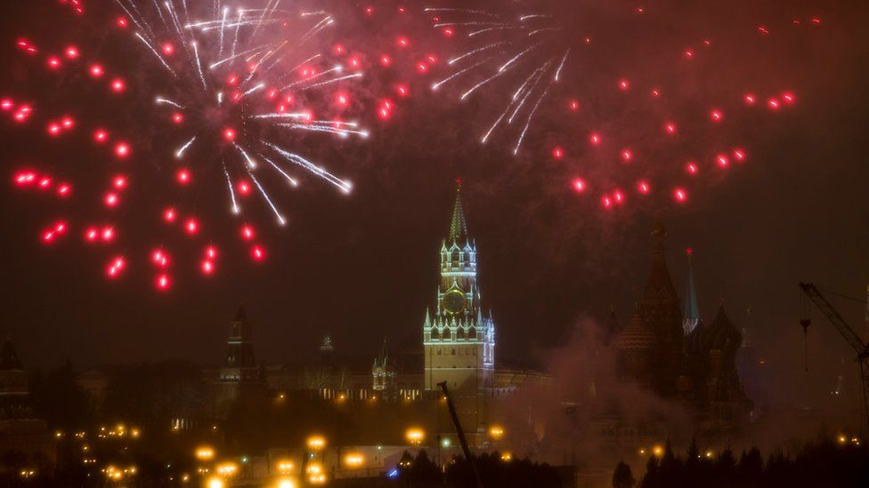 Fireworks explode over the Kremlin, during the New Year celebration in Moscow, Russia