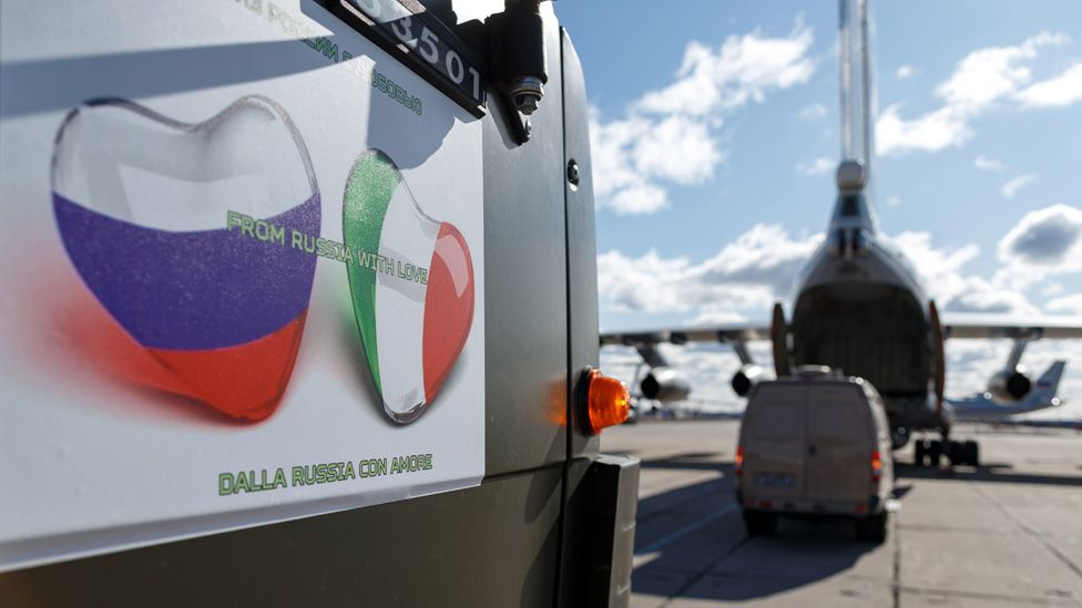 Russian medical aid for Italy, 22 Mar 20 (pic: Tass via Getty Images)