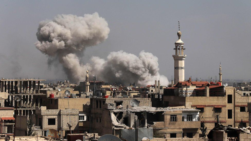Bombardment of the town of Kafr Batna in the south of Eastern Ghouta