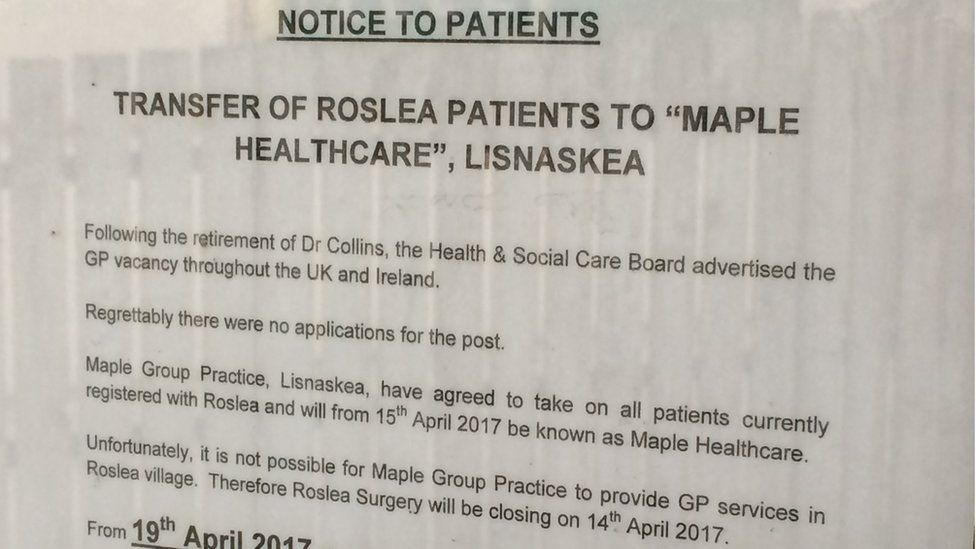 A notice was placed on the door to inform patients of the new arrangements