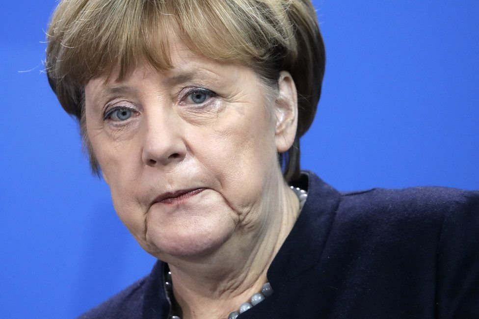 German Chancellor Angela Merkel attends a joint news conference as part of a meeting with Prime Minister of New Zealand Bill English, at the chancellery in Berlin, Germany, 16 January