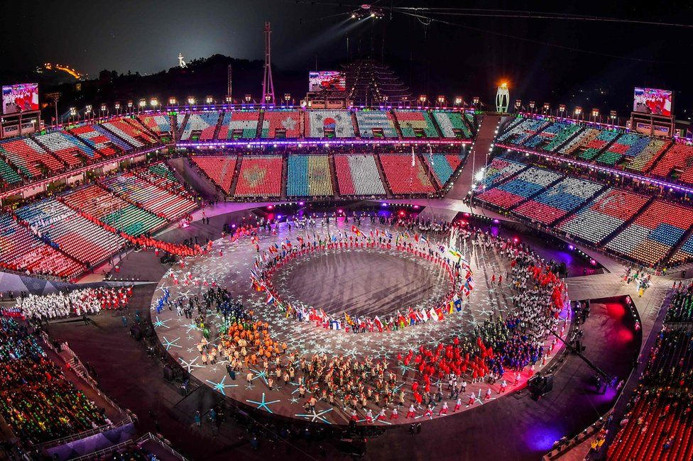 The Olympic stadium is seen in an aerial shot during the closing ceremony