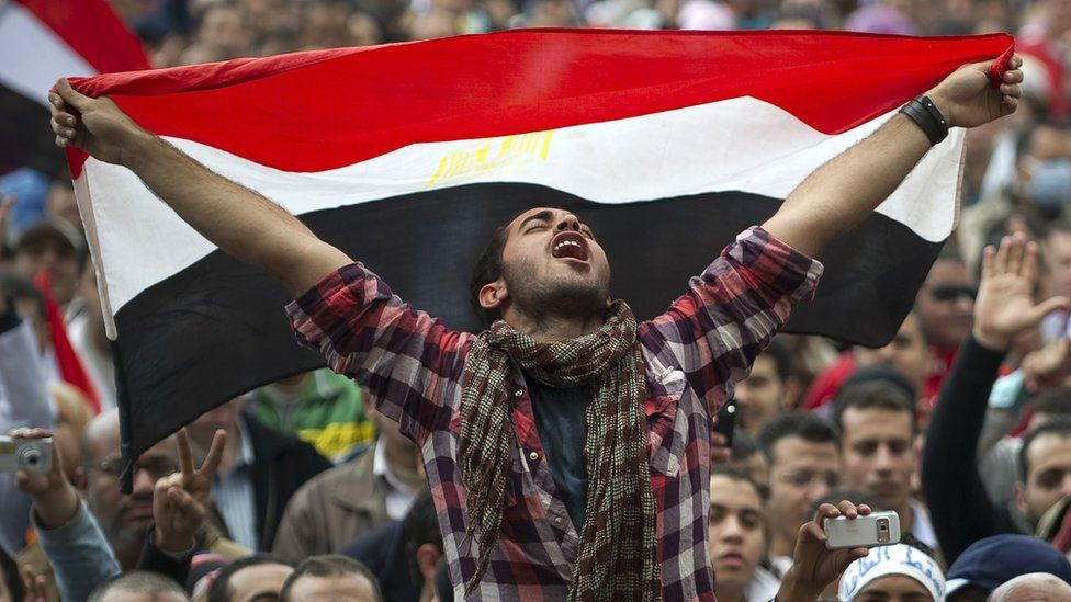 Picture of protester at Tahrir Square in 2011