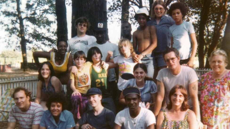 Group of young people photographed at the Redwood Valley Ranch in 1975