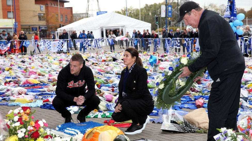 The Vardys and Alan Birchenall lay wreaths at the memorial