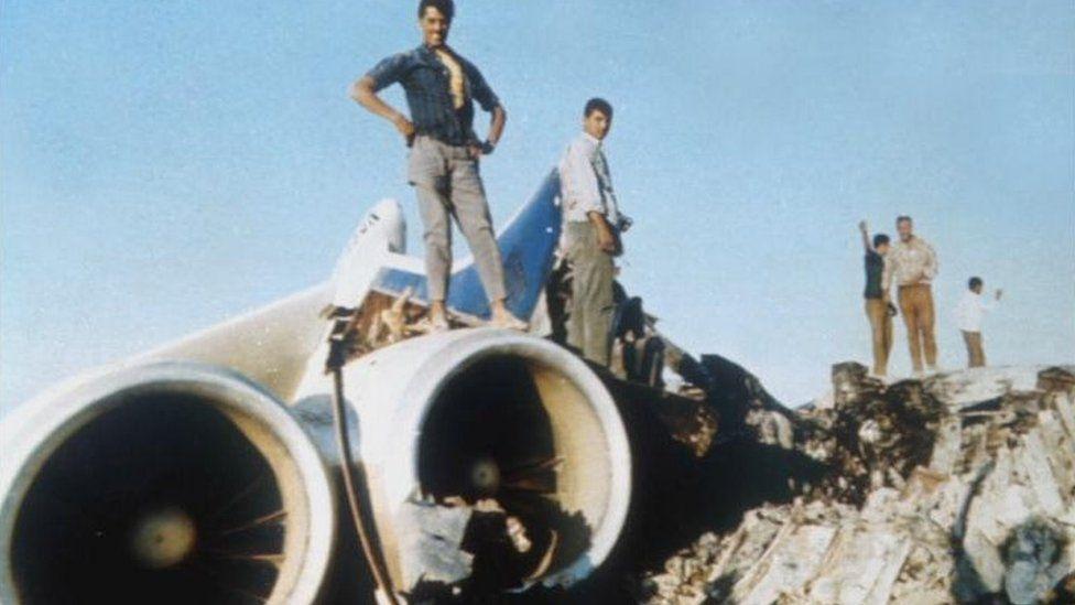 Destroyed plane at Dawson's Field