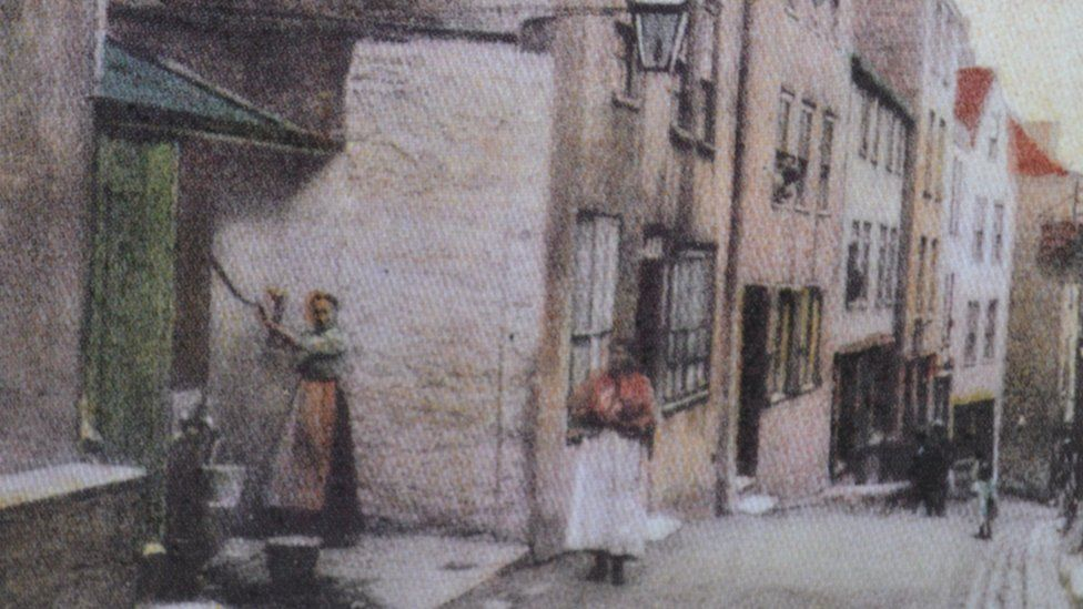A painting of the street where Nicolas Blondel lived in St Peter Port