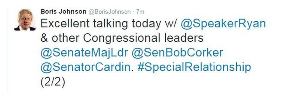 """Excellent talking today w/ @Speaker Ryan & other Congressional leaders ""SenateMajLDr @SenBobCorker @SenatorCardin. #SpecialRelationship"