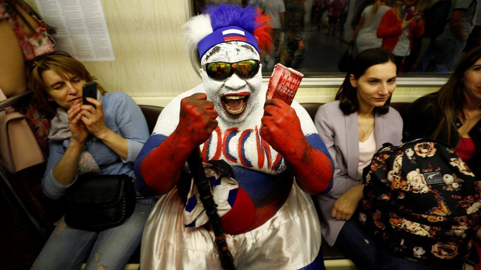 """Soccer Football - World Cup - Moscow, Russia - June 20, 2018 Zomo, Russia""""s fan from Cameroon is pictured in the metro"""