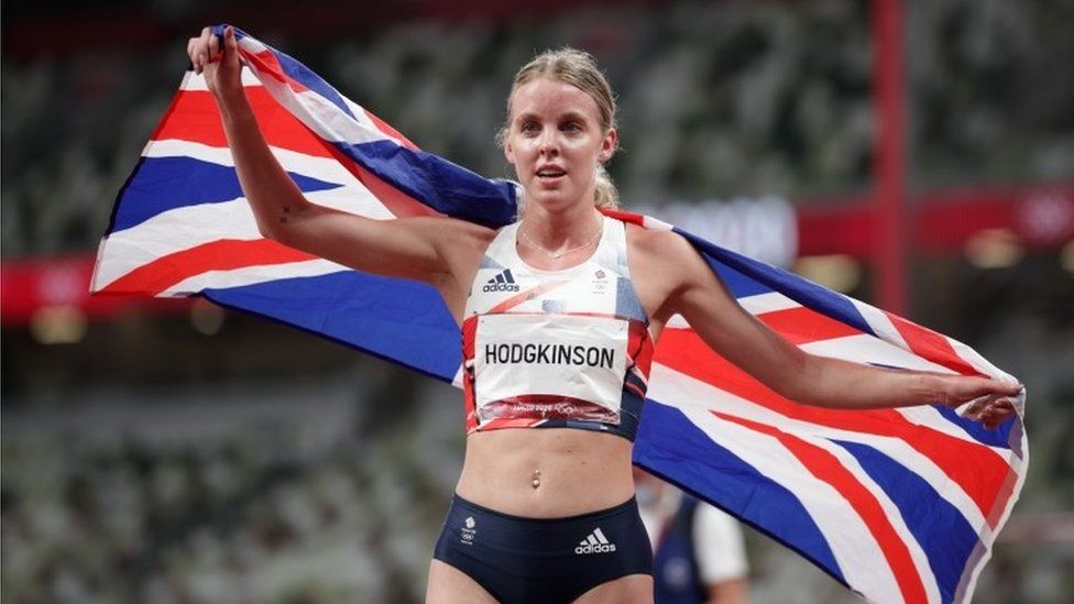 Keely Hodgkinson after winning the women's silver in the 800m at Tokyo 2020
