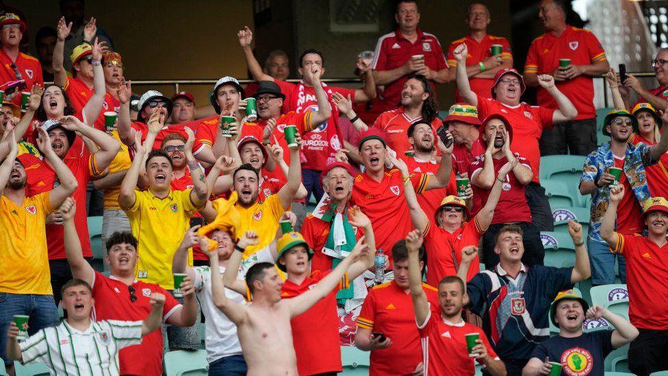 Wales fans in Baku