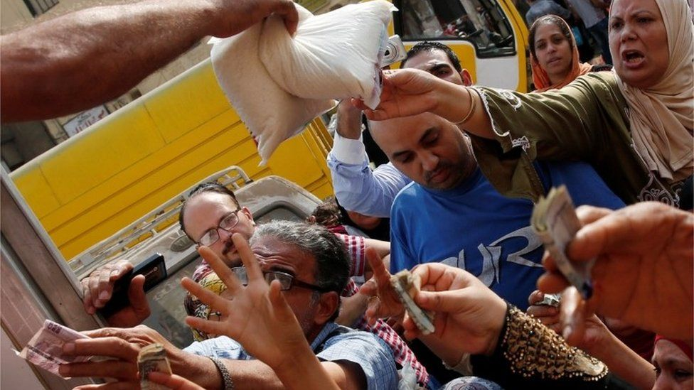 Sugar being distributed