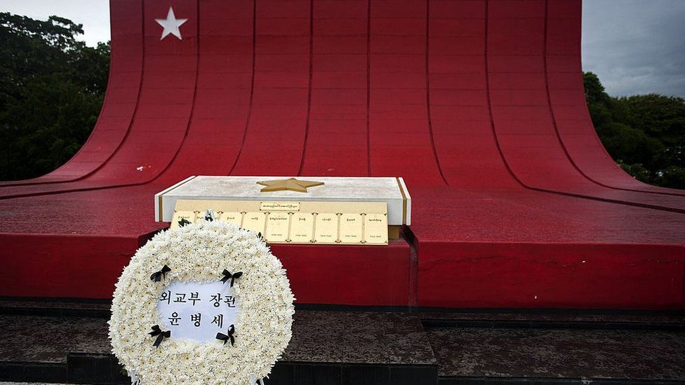 A South Korean wreath is laid to rest next to Myanmar's Martyrs Mausoleum for the South korean members who were killed in a North Korean bombing in 1983, during a memorial in Yangon on June 6, 2014
