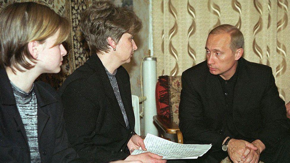 Putin meeting relatives of Kursk disaster victims