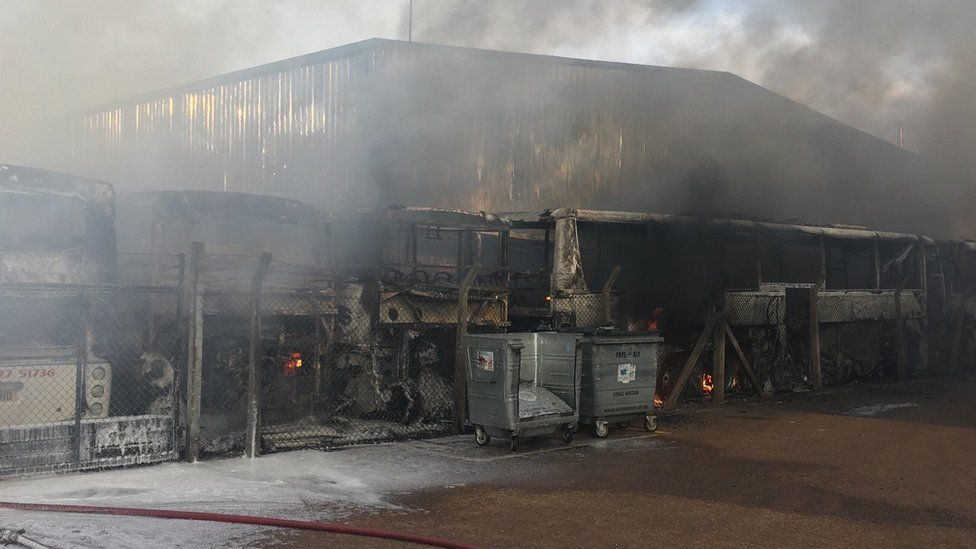 Vehicles damaged by fire
