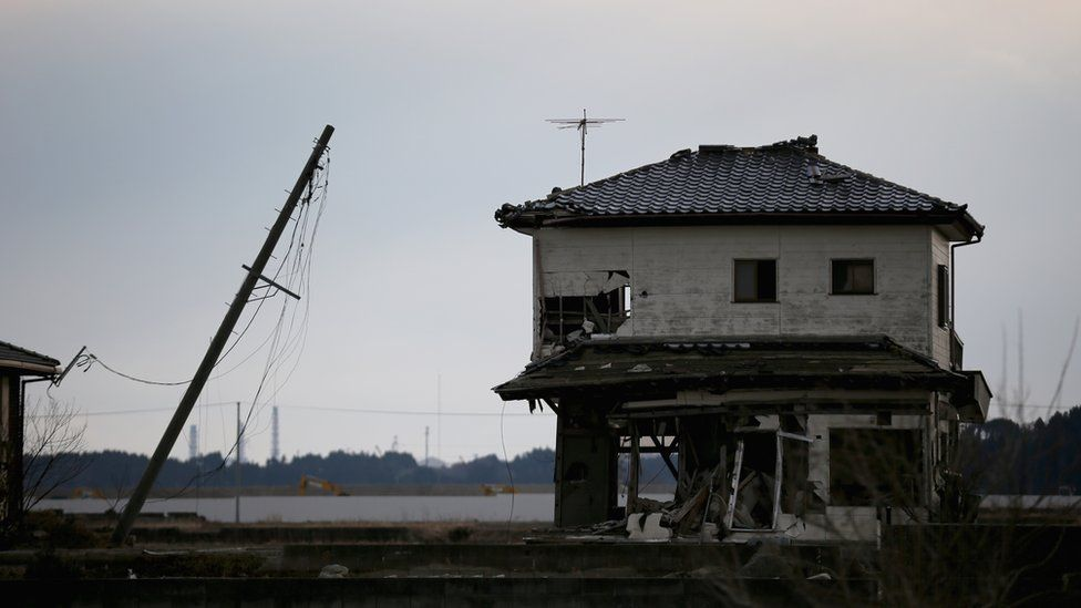 A house inside the exclusion zone close to the devastated Fukushima Daiichi Nuclear Power Plant on February 26, 2016 in Namie, Fukushima Japan