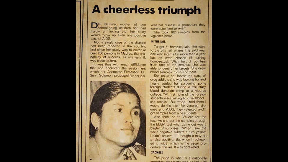 """A cutting describing Dr Nirmala's discovery: """"A cheerless triumph"""""""