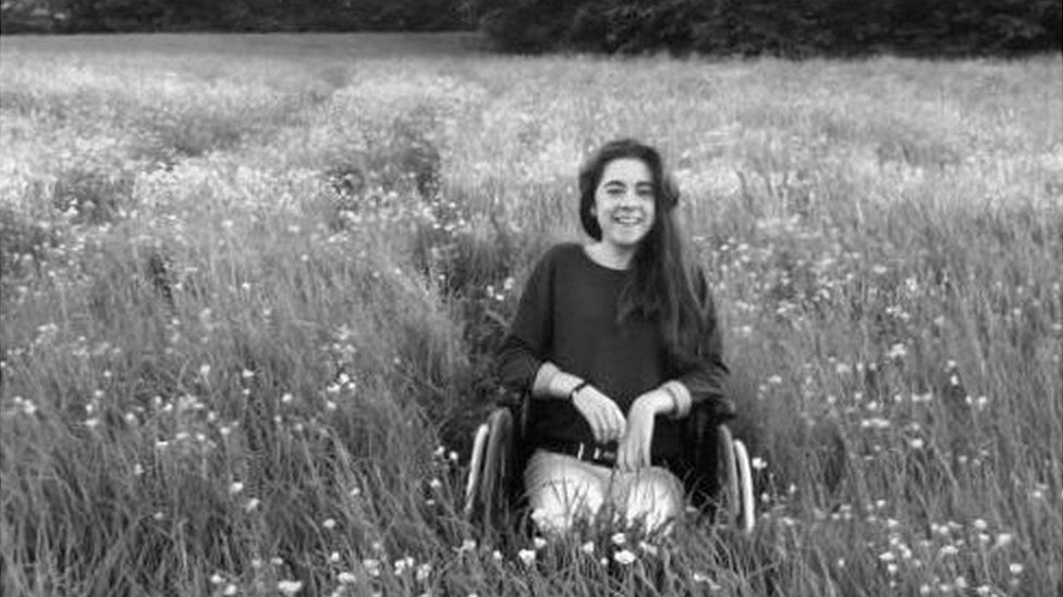 Katie Cooke in a wheelchair