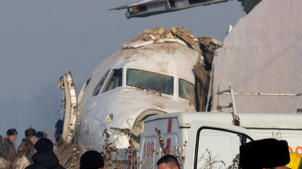 Plane resting next to building in Almaty Kazakhstan