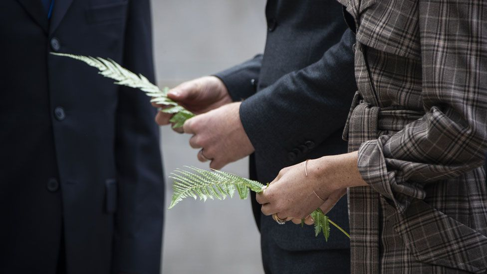 The pair laid ferns and a wreath at the Tomb of the Unknown Warrior