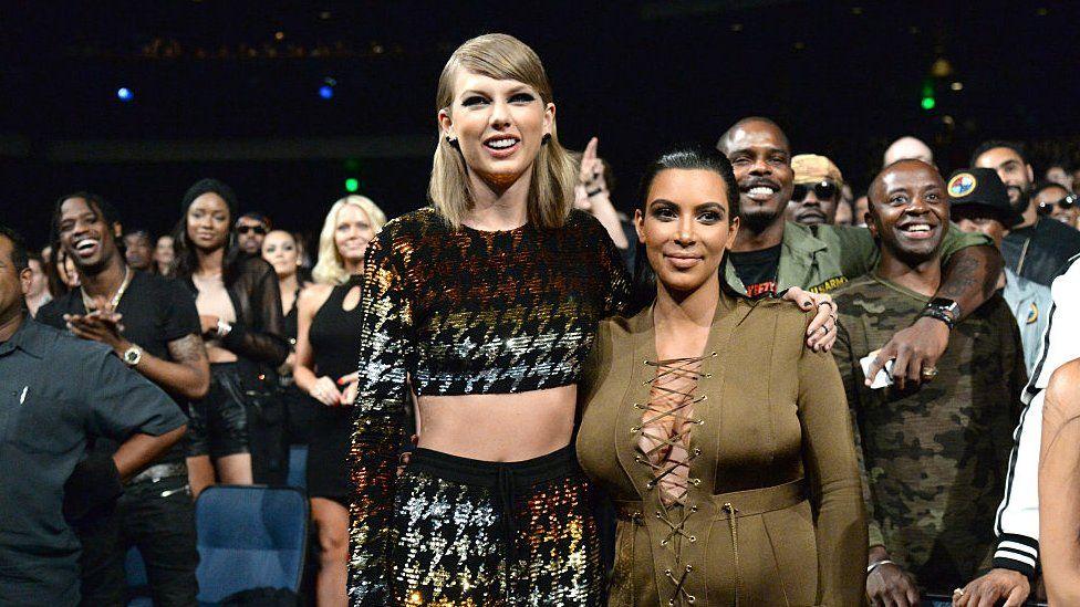 Taylor Swift and Kim Kardashian at the 2015 MTV Awards