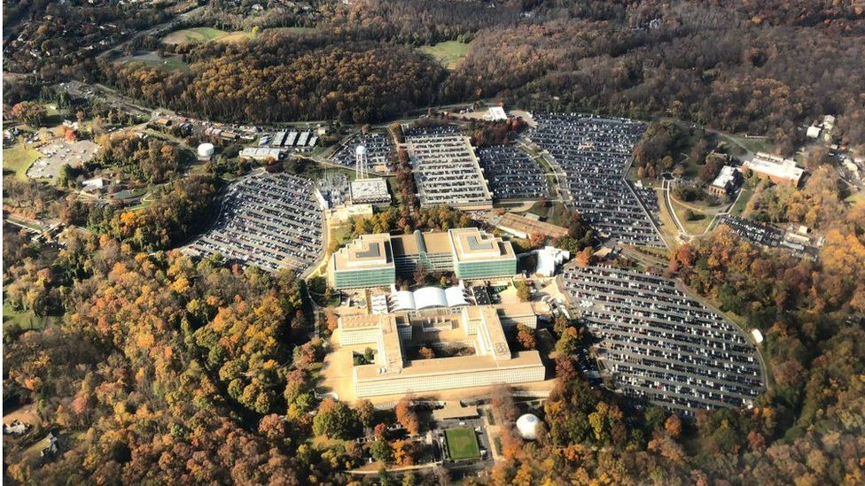 Aerial image of George Bush Center for Intelligence, the headquarters of the Central Intelligence Agency (the CIA), located in Langley in Virginia, United States, taken on November 7, 2018