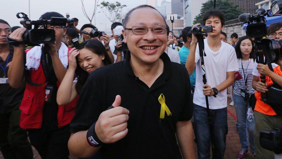 Benny Tai at a protest in Hong Kong