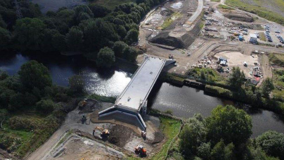 The bridge under construction