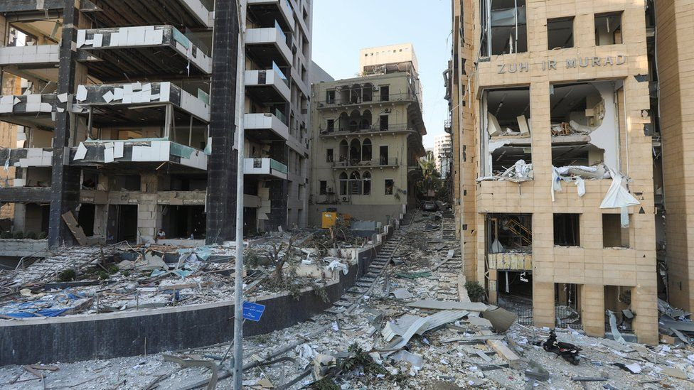 A street left entirely destroyed by the blast