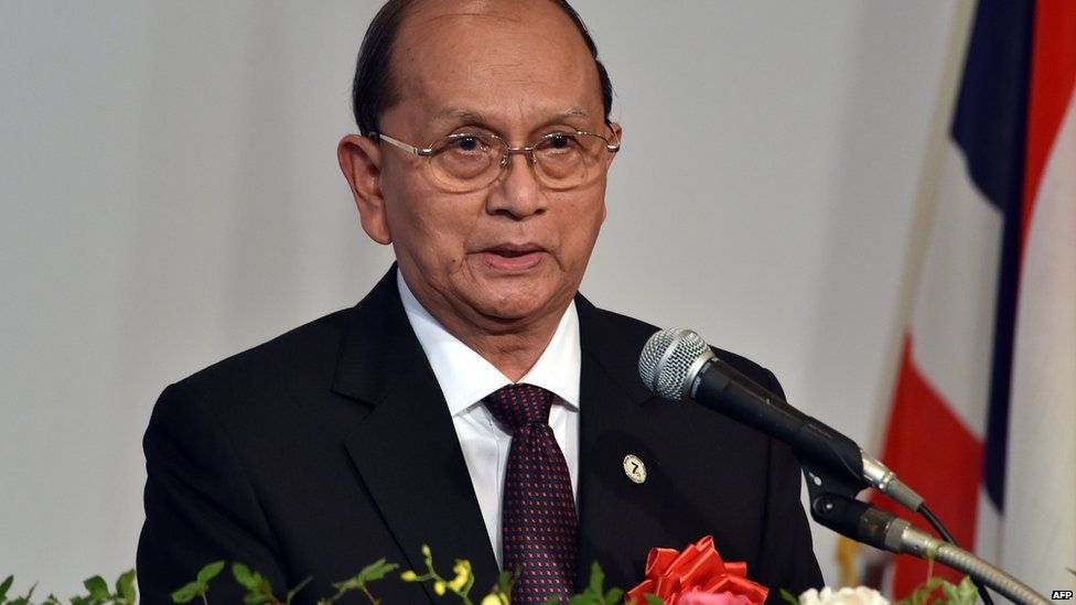 Myanmar President Thein Sein delivers a speech at an economic forum hosted by the Japan External Trade Organization (JETRO) in Tokyo, 3 July 2015