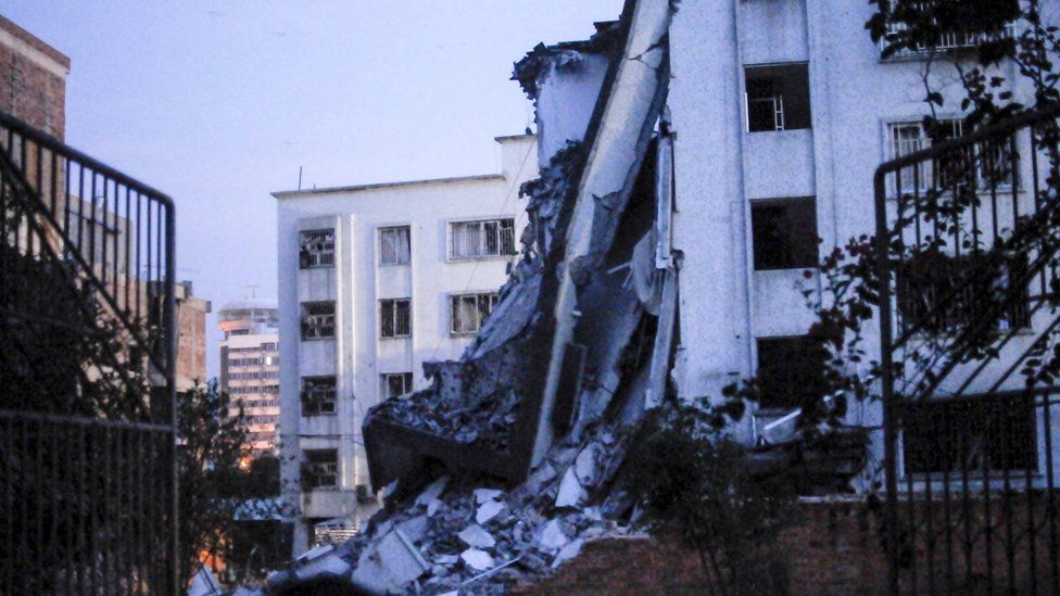 A damaged building is seen after explosions hit Liucheng county, Guangxi Zhuang Autonomous Region, China, September 30, 2015.