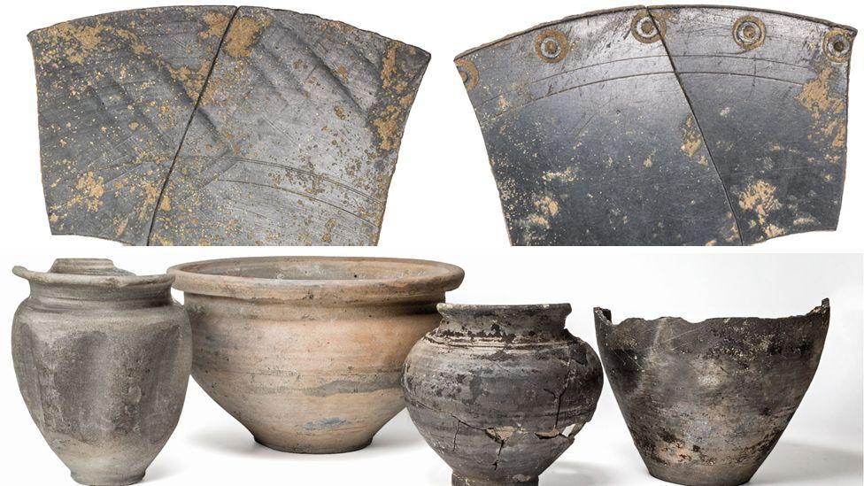 Remains of Roman mirror; four forman pots