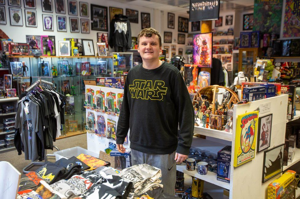 Liam Guille stands in Marvellous Toys on Fore Bondgate