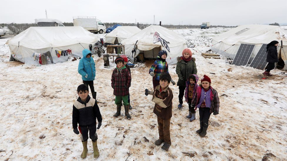 Displaced Syrian children at a makeshift camp in Azaz, Aleppo province (13 February 2020)