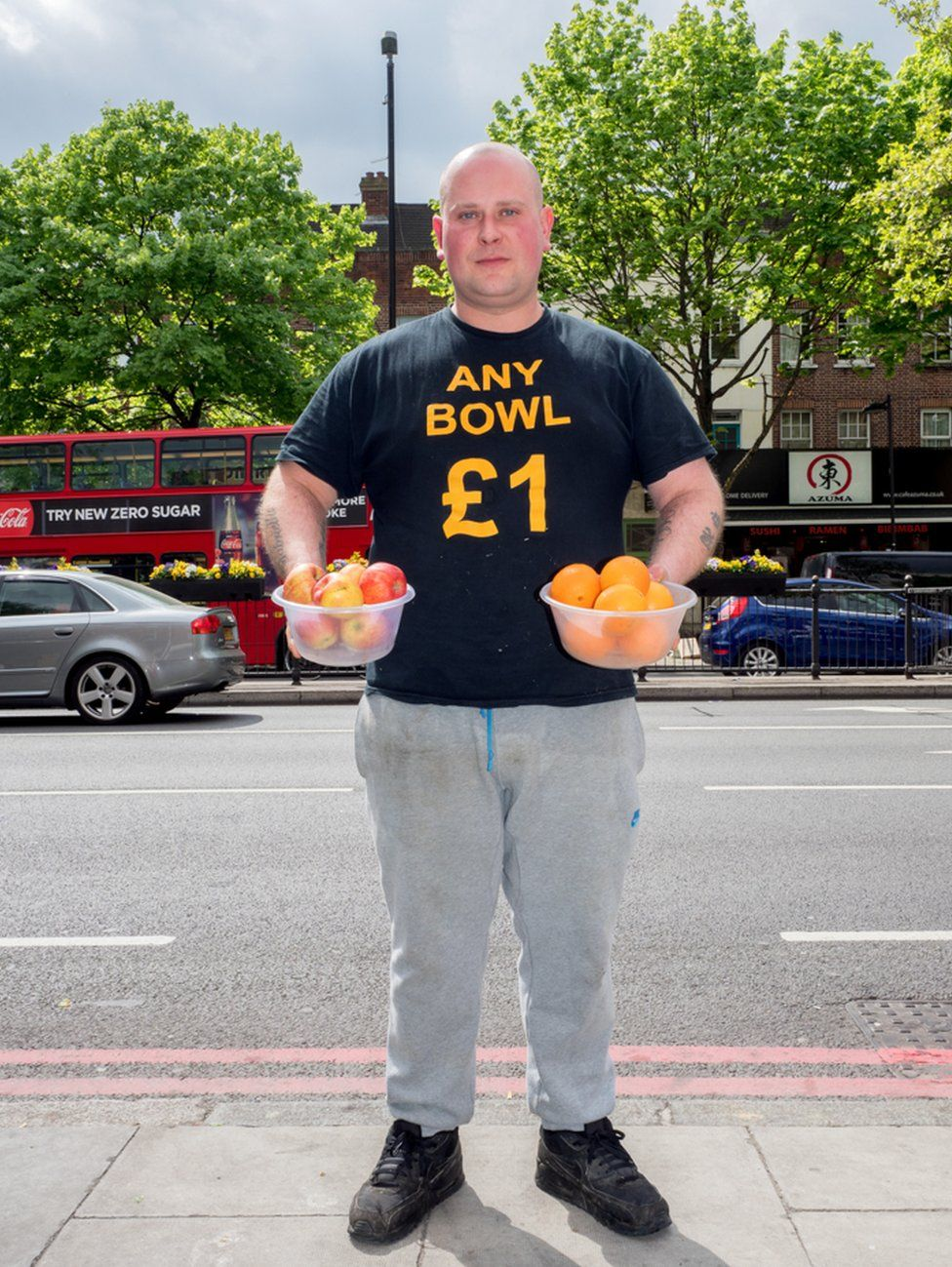 Mark, 32, from Essex selling fruit and vegetables. Holloway, London.