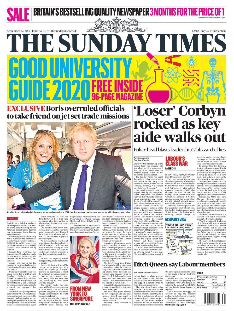 Newspaper headlines: Jeremy Corbyn's key aide Andrew Fisher 'walks out'