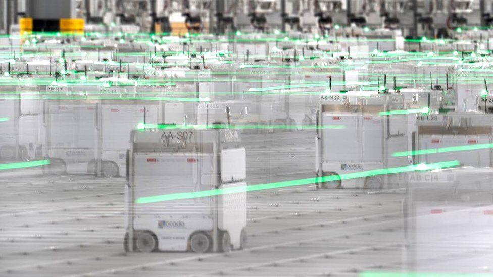 Robots at Ocado's warehouse in Erith