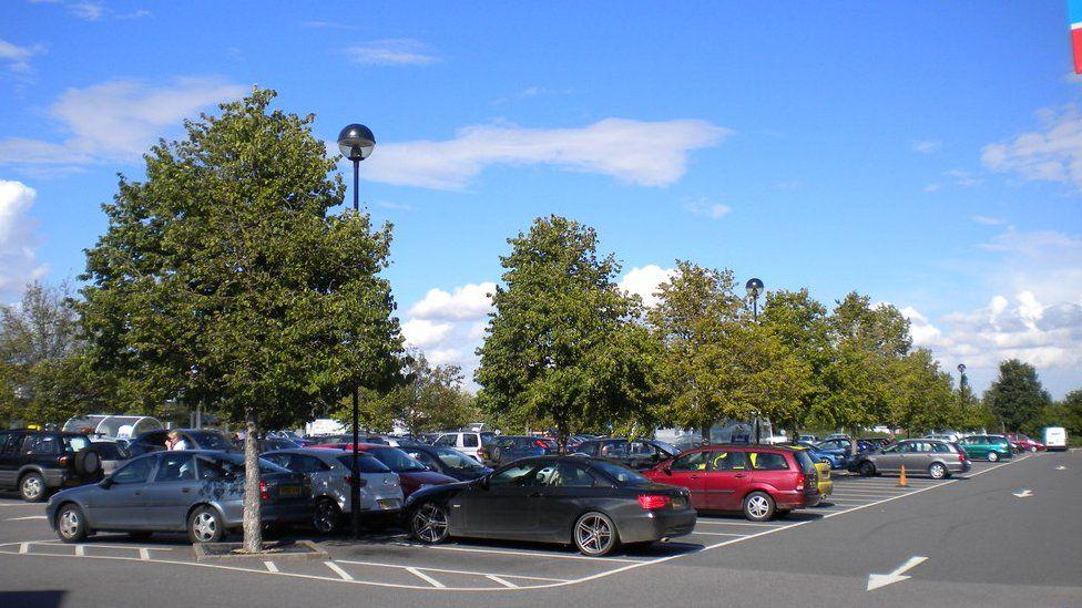 Tesco car park in Royston