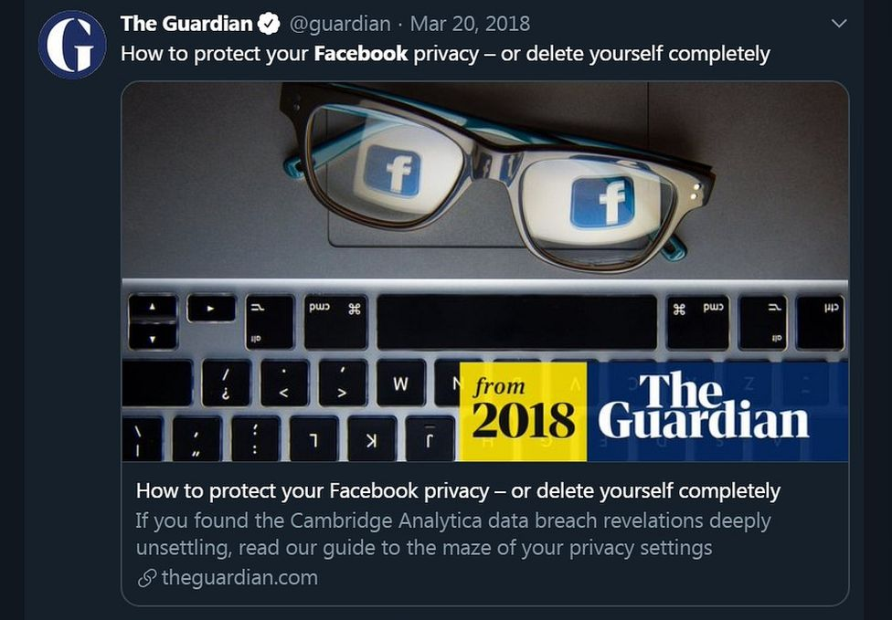 A social media post on Twitter from The Guardian
