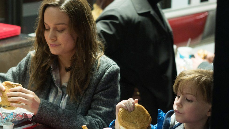 Brie Larson with Jacob Tremblay in Room