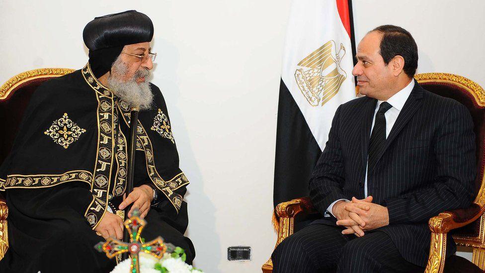 Egyptian President Abdul Fattah al-Sisi meets with Pope Tawadros II of Alexandria, leader of the Coptic Orthodox Church