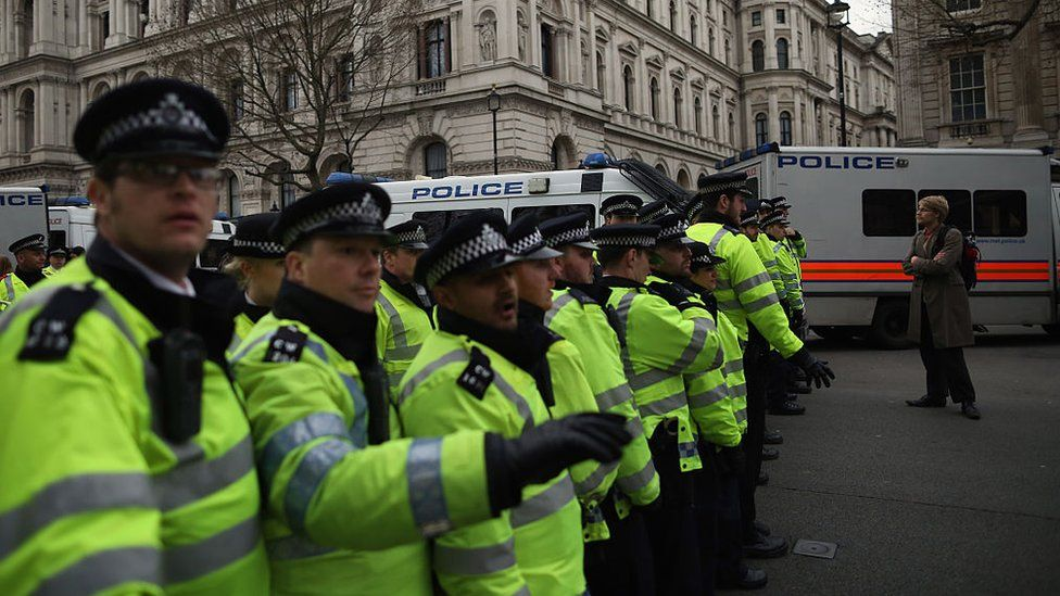 Metropolitan Police officers on duty at a demonstration