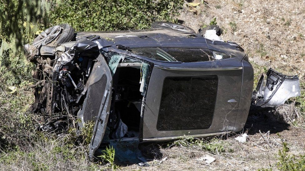 Tiger Woods' crashed car