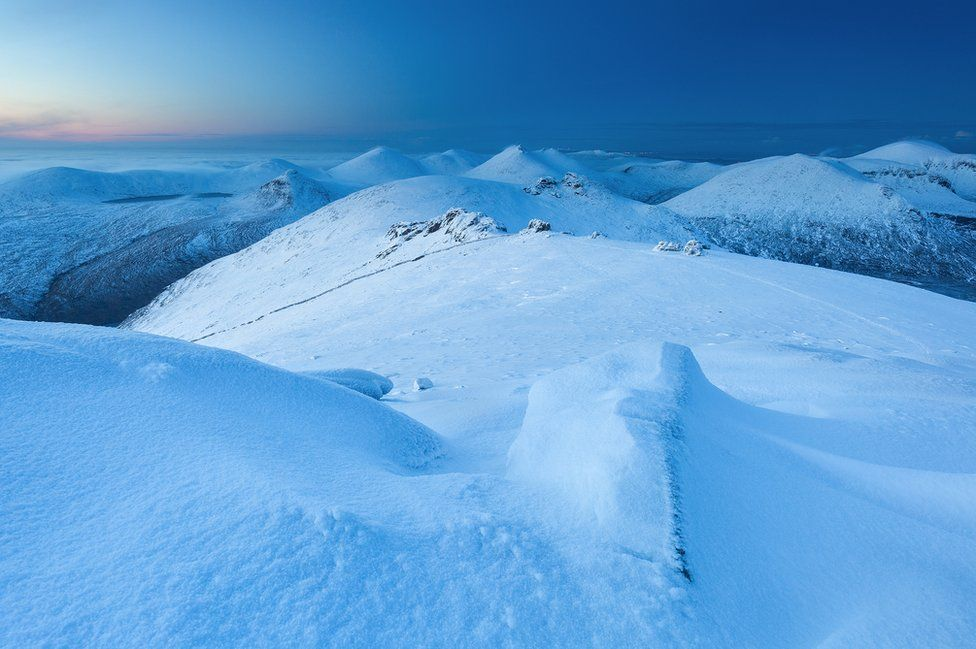 A snow scene on Slieve Binnian in the Mourne mountains in County Down