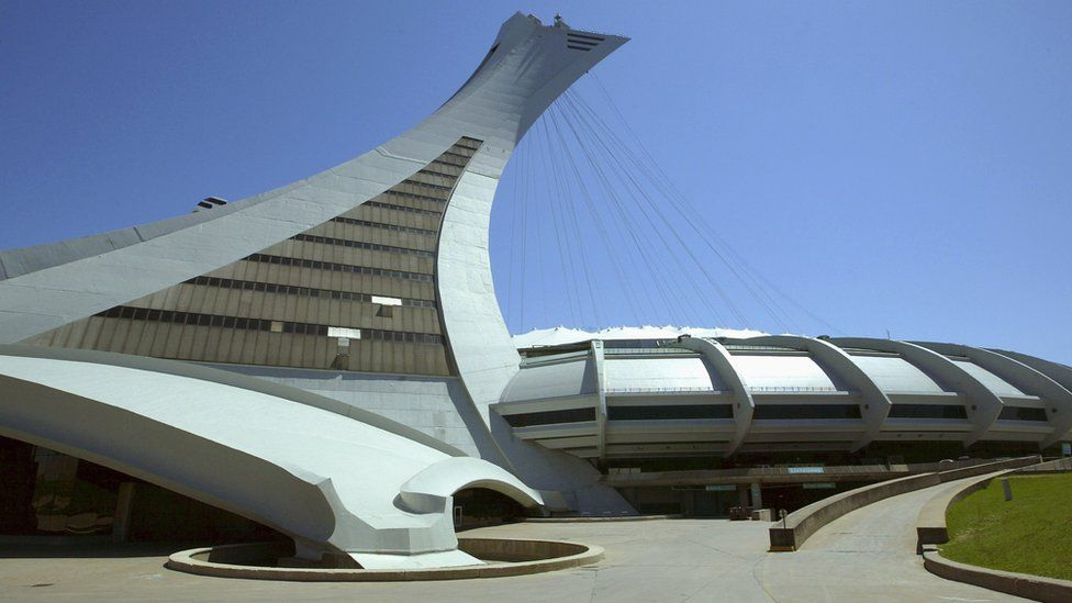 A general view of the exterior of Olympic Stadium prior to the game between the Atlanta Braves and the Montreal Expos at Olympic Stadium on May 24, 2004 in Montreal, Canada.