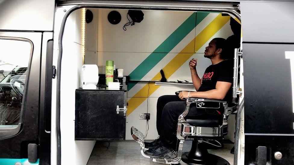 Haircut in van