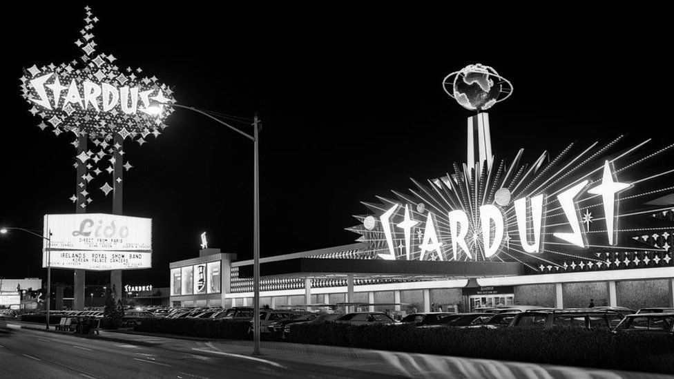 The iconic Stardust casino, Las Vegas photographed in the 1960s.