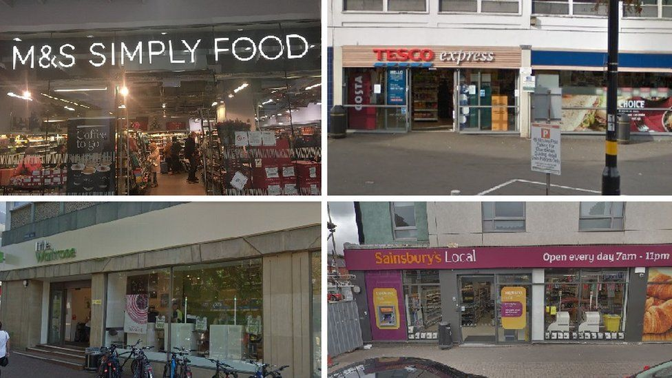 (Clockwise L-R) M&S Simply Food, Birmingham New Street Station; Tesco Express, Frederick Street, Birmingham, Waitrose, Pride Hill, Shrewsbury and Sainsbury's Local, Bristol Road, Selly Oak.