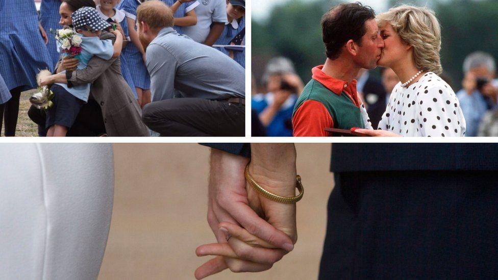 Члены королевской семьи целуются, обнимаются и держатся за руки