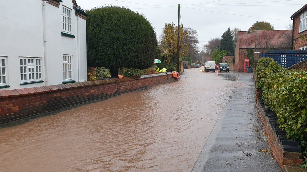 Flooding in Main Street, Woodborough
